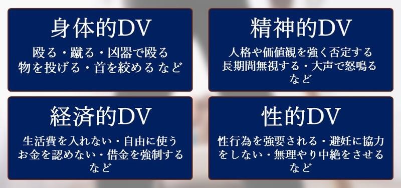DVに該当する4つの種類