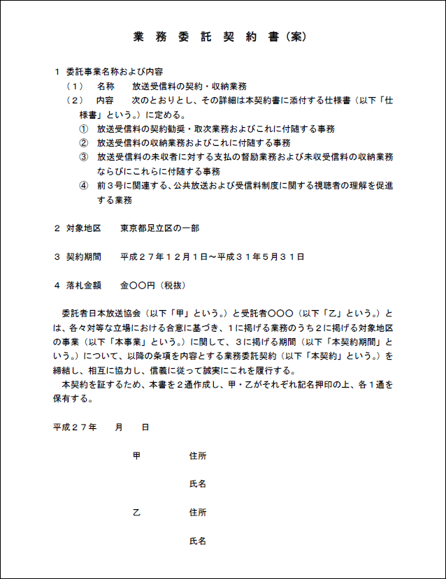 業務委託契約書の内容